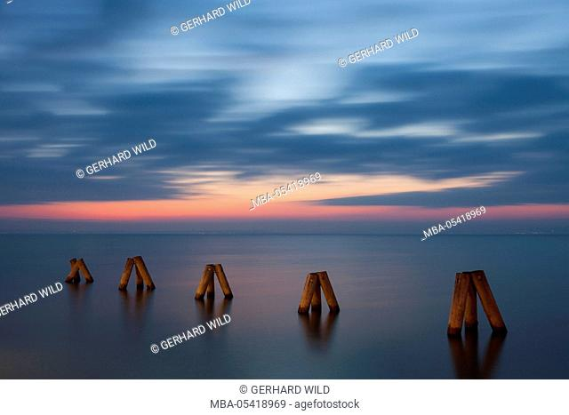 Sunset and jetty in Podersdorf am See, Lake Neusiedl, Burgenland, Austria, Europe