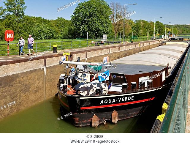 lock Bevergern with barge, Dortmund Ems Canal, Germany, North Rhine-Westphalia, Muensterland, Hoerstel