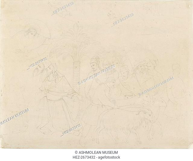 Pencil Outline of a Part of the Fresco of 'The Friends of Job', 1845. Artist: John Ruskin