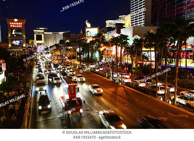 Night traffic on The Strip, Las Vegas Boulevard South, in Las Vegas, Nevada, USA