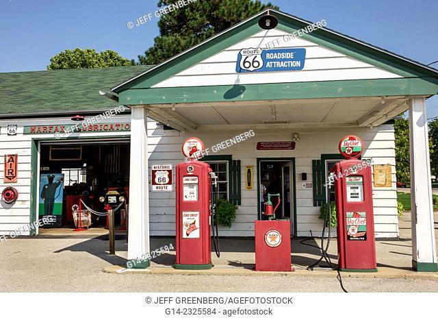 Illinois, Dwight, Historic Route 66, Ambler-Becker Texaco Station 1933, gas, petrol, pump, roadside