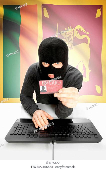 Hacker with ID card in hand and flag on background - Sri Lanka