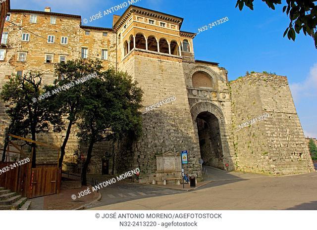 Perugia, Etruscan arch, Umbria, Italy