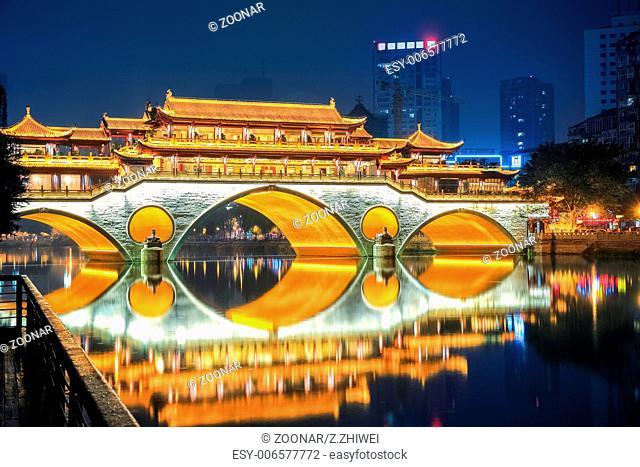 night view of chengdu anshun bridge