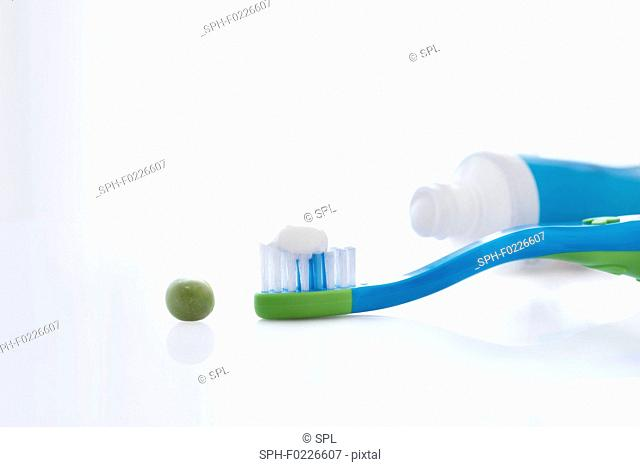 Toothbrush with pea sized amount of toothpaste
