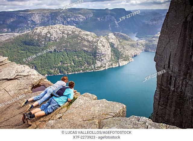 Preikestolen, Pulpit Rock, 600 meters over LyseFjord, Lyse Fjord, in Ryfylke district, Rogaland Region, It is the most popular hike in Stavanger area, Norway