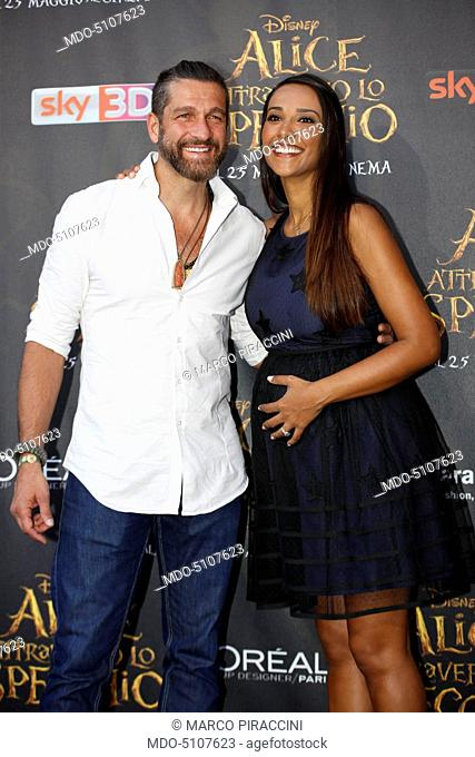 Italian TV presenter Edoardo Stoppa and his pregnant partner and Brazilian showgirl Juliana Moreira posing on the red carpet at the national premiere of the...