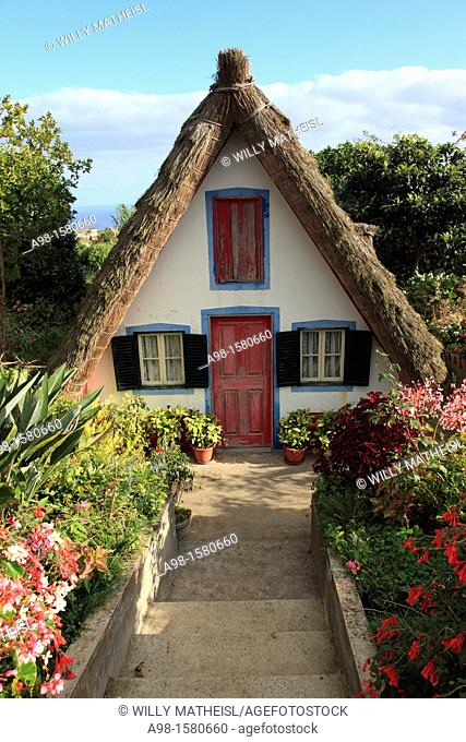 Traditional A-framed House at Santana, Madeira, Portugal, Europe