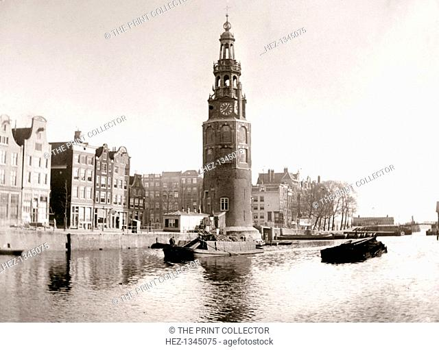 The Montelbaanstoren, Amsterdam, 1898. View of one of the city's landmarks which was built in 1512 as a part of the fortifications