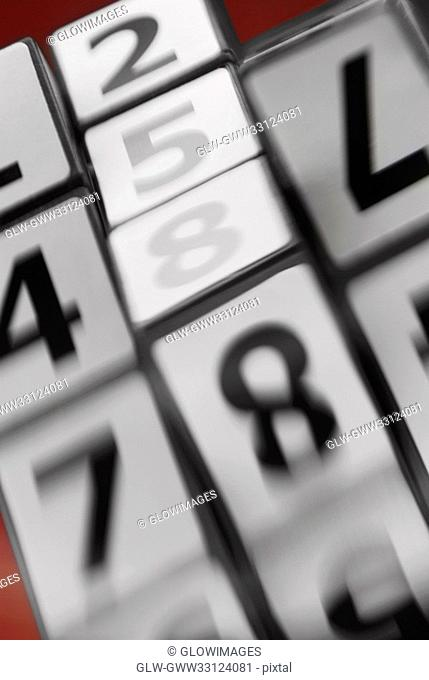 Close-up of numbers in motion