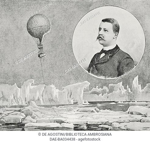 The Swedish explorer Salomon August Andree, inset, attempting to reach the North Pole by balloon, drawing by Achille Beltrame (1871-1945)