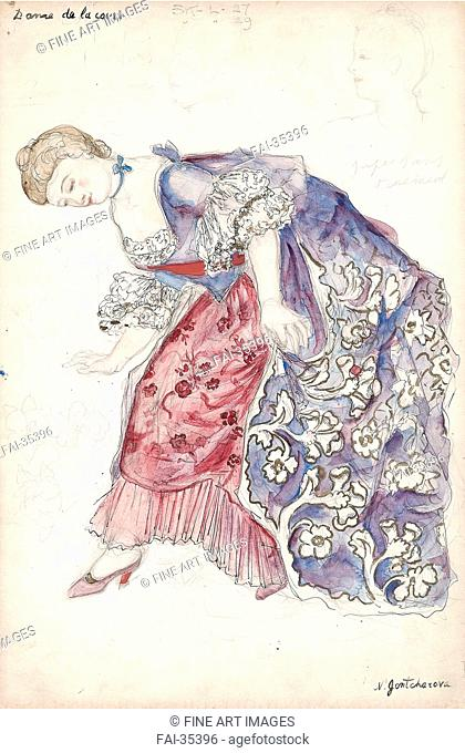 Costume design for the play La Petite Catherine Alfred Savoir by Goncharova, Natalia Sergeevna (1881-1962)/Watercolour and ink on paper/Theatrical scenic...