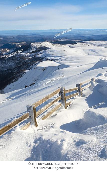 France, Puy de Dome (63), Besse-et-Saint-Anastaise, ski station of Super Besse, valley of Chaudefour and Puy de Champgourdeix viewed from Puy de la Perdrix