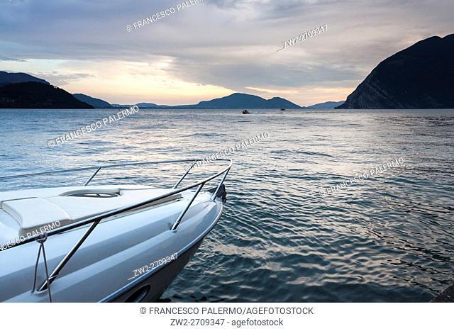 Summer sunset over Lake Iseo. Sulzano, Lombardy. Italy