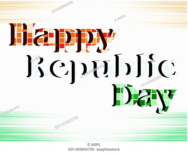 A vector illustration of text Happy Republic Day with blocks