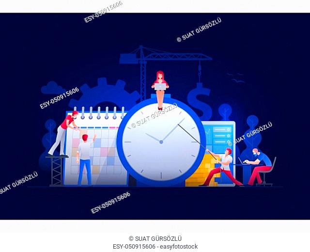 Vector illustration people are working on financial issues together on clock and calendar. Business time management and teamwork concept