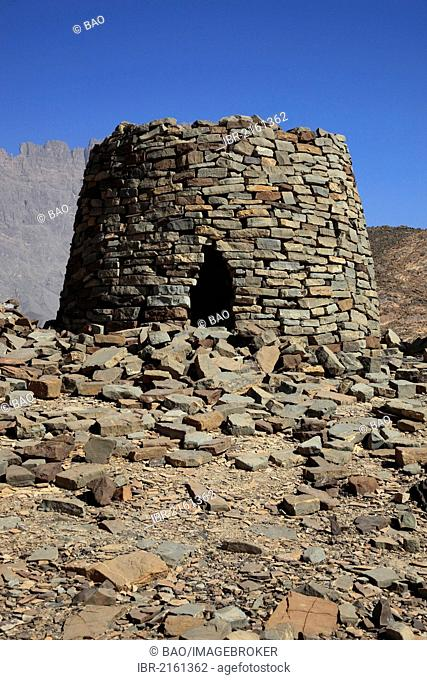 The Beehive Tombs of Al-Ayn on the edge of Jebel Misht mountain ridge, in the area between the towns of Bat and Al-Ayn in the Hajar Mountains
