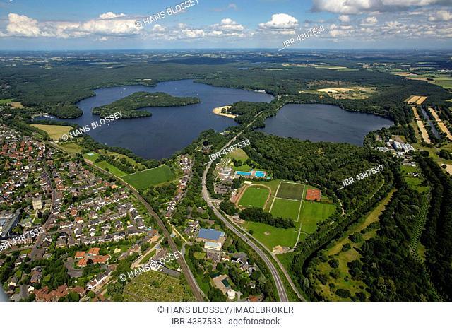 Aerial view of reservoir, Haltern, Ruhr, North Rhine-Westphalia, Germany