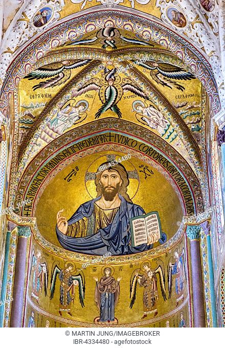 Christ Pantocrator mosaic in Byzantine style, presbyterium of Santissimo Salvatore Cathedral, Cefalù Cathedral, Cefalù, Province of Palermo, Sicily, Italy