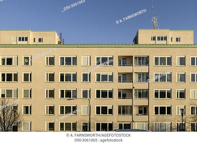 STOCKHOLM, SWEDEN Neighborhood of Nybohov. Apartment building