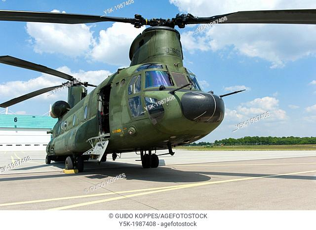 Gilze-Rijen, Netherlands. The CH47 Chinhook helicopter on a platform at Gilze-Rijen military airbase