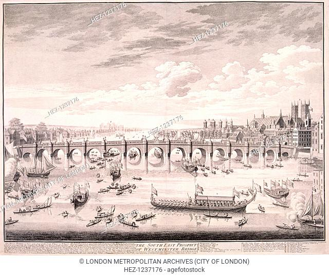 North prospect of Westminster Bridge, London, 1747; with boats including company barges on the River Thames. Also including a description and a key to the main...