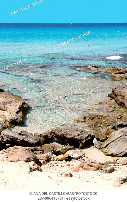 Calo des Mort Turquoise beach in Formentera Balearic Islands Spain