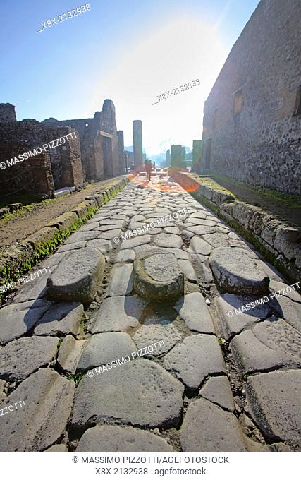 Narrow street of Pompeii, Italy