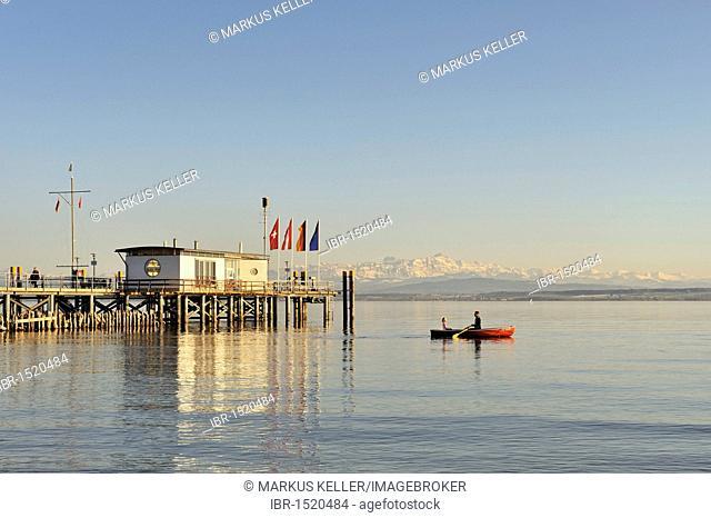 Jetty at dusk, Lake Constance, Hagnau, Bodenseekreis district, Baden-Wuerttemberg, Germany, Europe