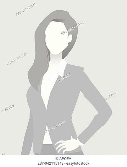 Default placeholder businesswoman half-length portrait photo avatar. Woman gray color