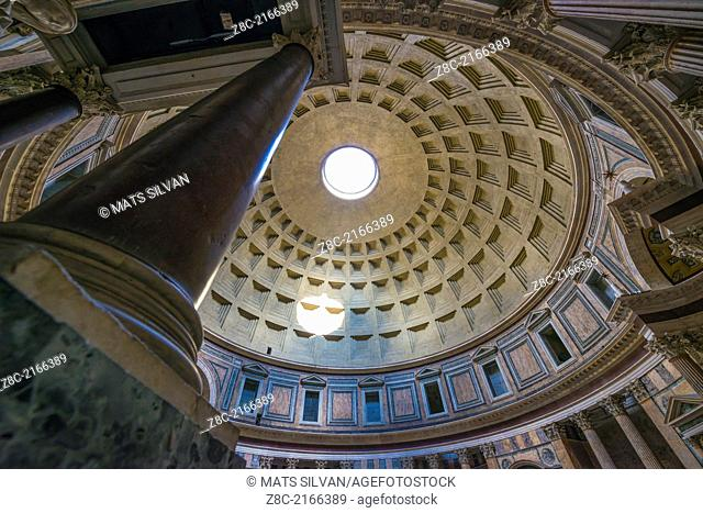 Inside Pantheon with columns and roof in Rome Italy