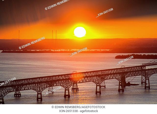 Sunset behind the Chesapeake Bay Bridge in Maryland