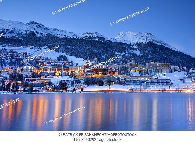 St. Moritz by night, Graubuenden, Switzerland
