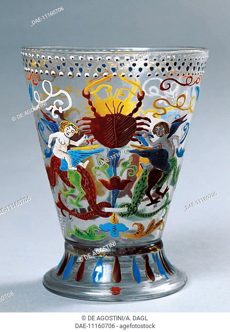 Glass goblet decorated with polychrome enamel, Venice. Italy, 16th century.  Prague, Umeleckoprumyslové Muzeum V Praze (Arts And Crafts Museum)