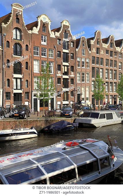 Netherlands, Amsterdam, Prinsengracht, canal scene,