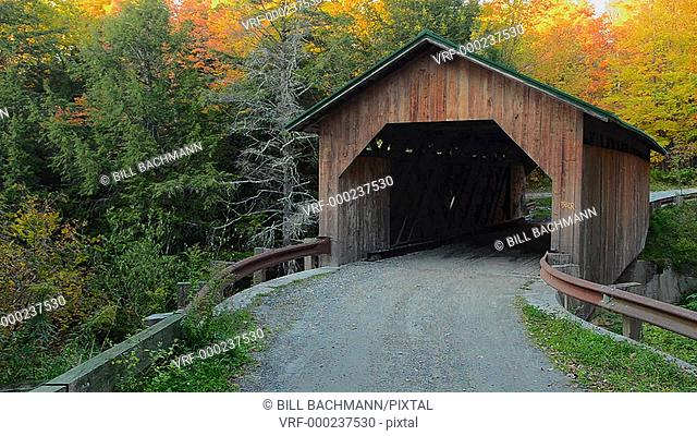 Montgomery Vermont Creamery Bridge in fall foliage in Northern New England