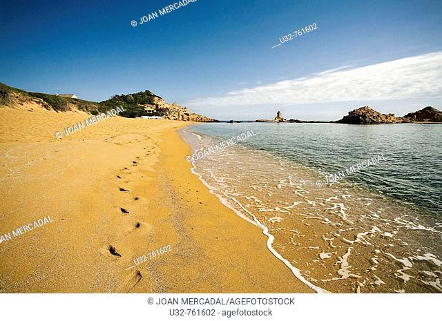 Footprints in Cala Pregonda, Minorca. Balearic Islands, Spain