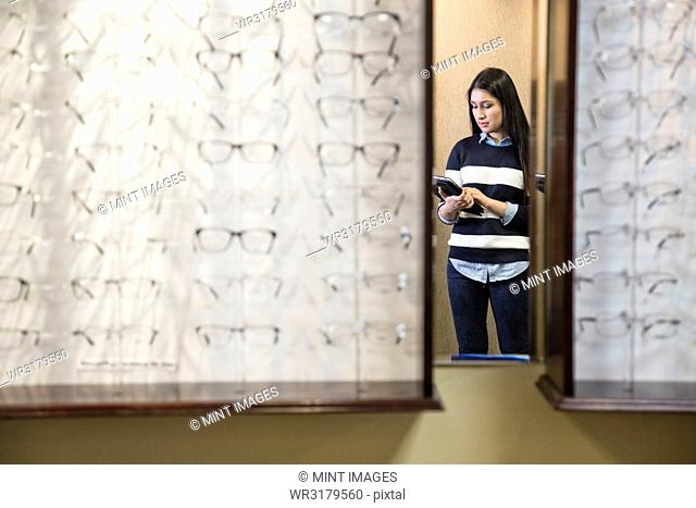 East Indian woman in the office of an ophthalmologist
