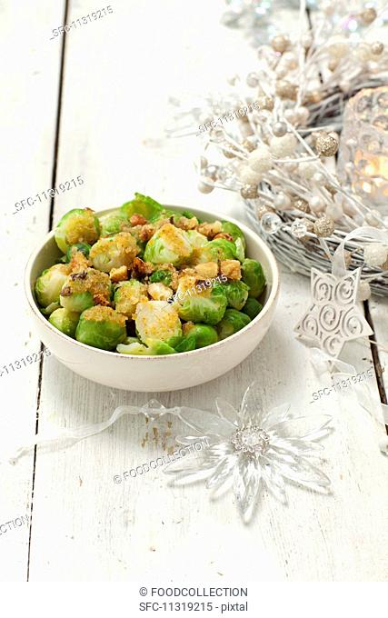 Brussels sprouts with buttered crumbs and hazelnuts