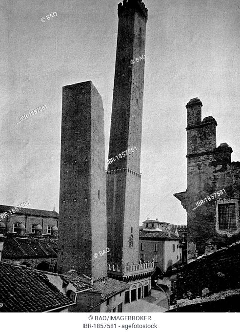 One of the first autotypes of Torre Asinelli tower in Bologna, Italy, historical photograph, 1884