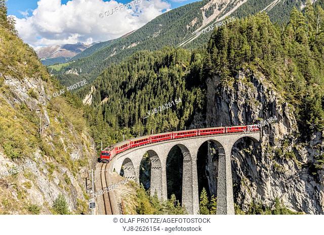Express Train at Landwasser Viaduct, Swiss Alps, Grisons, Switzerland