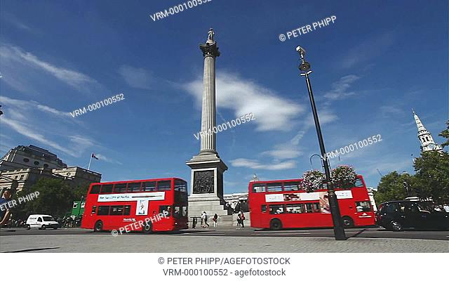 Nelsons Column at Trafalgar Square in the centre of London