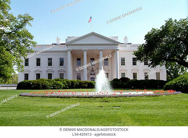 The White House, official office and residence of the president of the United States in 1600 Pennsylvania Ave, Washington D.C. USA