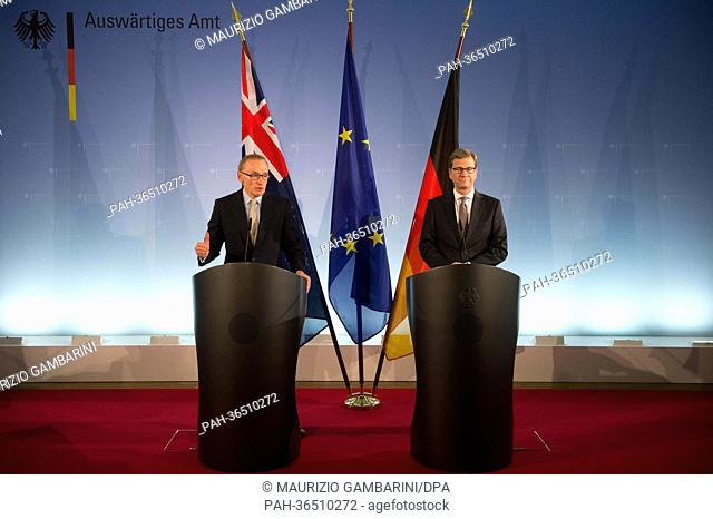 ForeignMinisters Guido Westerwelle from Germany (R) and BobCarr from Australia make a statement signing a joint declaration in Berlin,Germany
