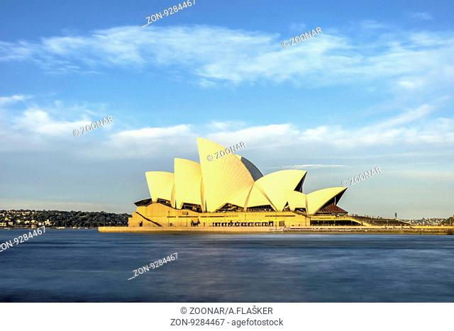 View on Sydney Opera house in daylight, long exposure hdr photo
