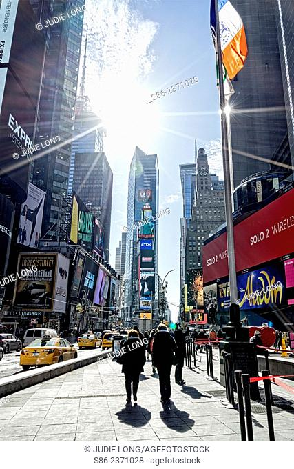 People Walking South on the 7th Avenue Side of Times Square, New York City