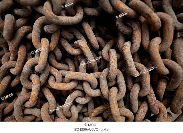 Close up of rusted metal chains