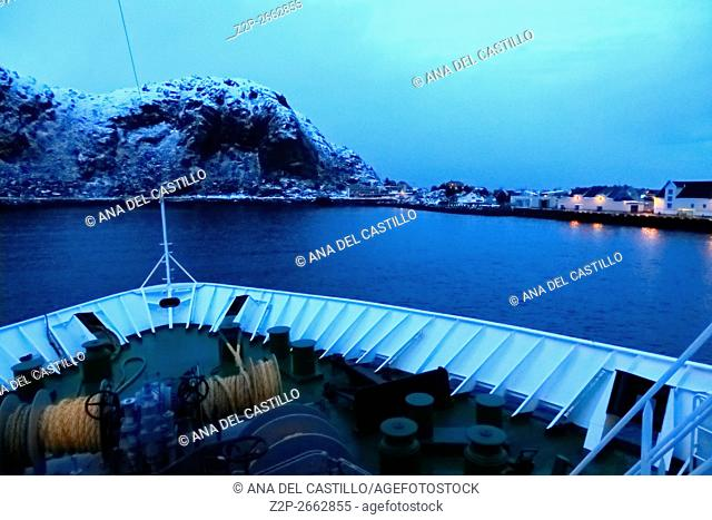 Stamsund at blue hour from a ship Norway