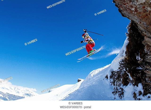 Switzerland, Grisons, Obersaxen, Boy on the slope