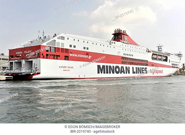 Europa Palace, high speed ferry, built in 2000, 214 metres, 600 cars, Minoan Lines, Venice, Veneto, Italy, Europe